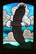 """Eagle"" glass painting by ABQ Art Glass"