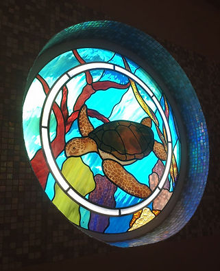 Sea Turtle stained glass by ABQ Art Glass