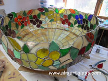 Yellow floral stained glass lamp repair