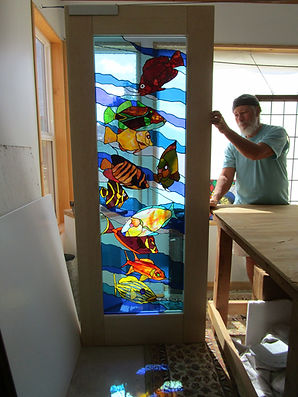 Fish stained glass door
