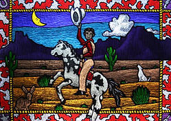 """Cowboy"" glass painting by ABQ Art Glass"