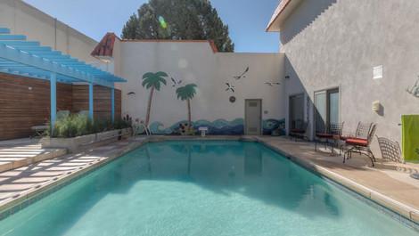 Palm Tree pool mosaic by ABQ Art Glass