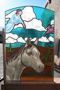 """Horse with Angels"" glass painting by ABQ Art Glass"