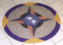 World compass mosaic floor inlay at Lieber's Luggage, Albuquerque NM by ABQ Art Glass