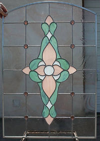 Pink Victorian stained glass by ABQ Art Glass
