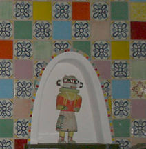 Mexican tile with mosaic nicho by ABQ Art Glass