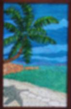 Palm tree, beach mosaic by ABQ Art Glass