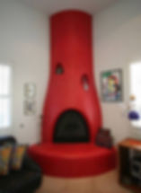 Faux Red Fireplace by ABQ Art Glass