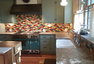 Kitchen backsplash by ABQ Art Glass