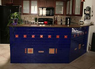 Blue glass tile kitchen bar by ABQ Art Glass