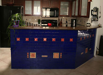 Blue glass tile kitchen bar by ABQ Art Glass