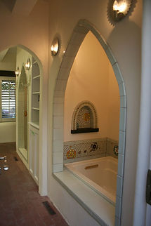 Mandala tub surround by ABQ Art Glass