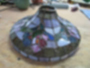 Pink and purple flowers stained glass lamp repair