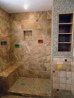 Earthtones with colorful accents tiles by ABQ Art Glass