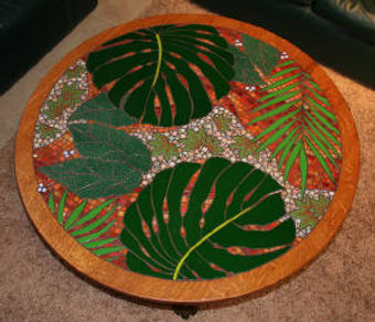 Jungle leaves glass mosaic tabletop by ABQ Art Glass