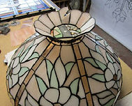 Pink with white flowers stained glass lamp repair