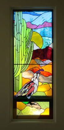 Saguaro Cacti with Quail stained glass by ABQ Art Glass