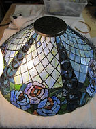 Purple roses stained glass lamp repair