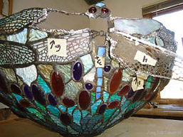Turquoise Dragonfly Tiffany stained glass lamp repair