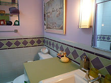 Retro bathroom tile waincot by ABQ Art Glass