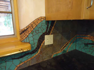Mosaic tile kitchen backsplash by ABQ art Glass