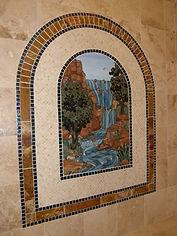 Glass mosaic waterfall by ABQ Art Glass