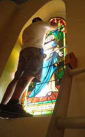 Rose De Lima Church stained glass repair by ABQ Art Glass