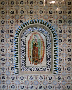 Our Lady of Guadalupe shower mosaic niche by ABQ Art Glass