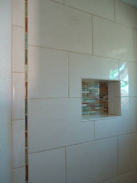 White linen tile with colorful accent tiles by ABQ Art Glass