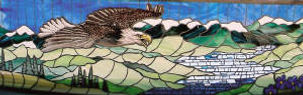 Glass mosaic of Alaska, painted eagle.
