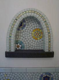Mandala mosaic wall niche by ABQ Art Glass