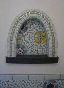 Mandala mosaic wall niche by ABQ Art Glass