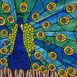 Peacock stained glass by ABQ Art Glass