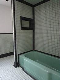 Seafoam Keystone tile with black trim by ABQ Art Glass