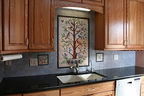 Tree of life kitchen backsplash by ABQ Art Glass