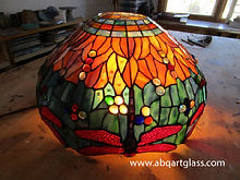 Red dragonfly stained glass lamp repair