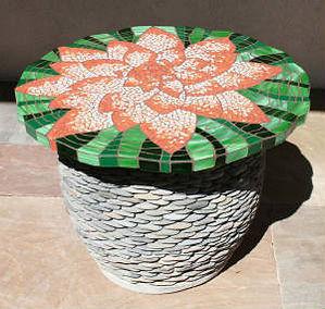 Lily Flower mosaic tabletopby ABQ Art Glass