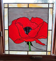Red Poppy stained glass repair