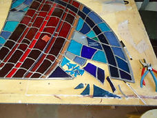 Stained glass abstract repair