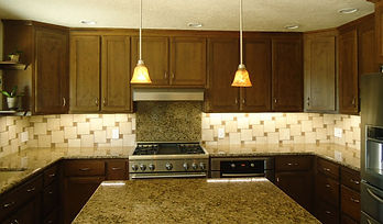 Pinwheel pattern kitchen backsplash.