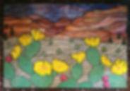 Mosaic desert cacti backsplash by ABQ Art Glass