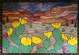 Mosaic desert cacti backsplash by ABQ Art Glass