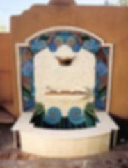 Swirly mosaic fountain by ABQ Art Glass