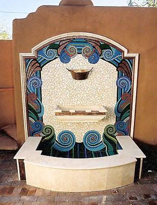 Swirly mosaic fountain by ABQ Art Glass