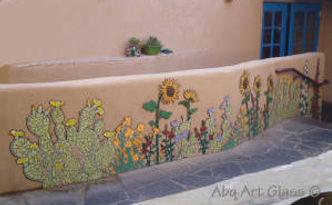 Flower mosaic located at Church Street Cafe, Old Town Albuquerque by ABQ Art Glass