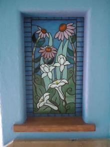 Flower glass mosaic niche by ABQ Art Glass