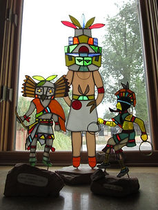 Kachina statue stained glass repair