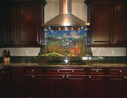 Mosaic kitchen backsplash, A day in Tuscany by ABQ Art Glass