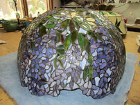 Purple wisteria Tiffany stained glass lamp repair