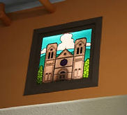 Glass painting of Loretto Chapel in Santa Fe by ABQ Art Glass